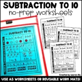 Subtraction to 10 - No-Prep Worksheets OR Work Mats - Kind