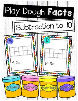 Subtraction to 10 Play Dough Task Cards