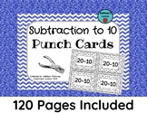 Subtraction to 10 Punch Cards (Fine Motor Activity)