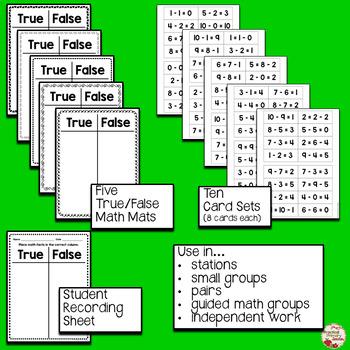 Subtraction to 10 True/False Math Mats Sorts