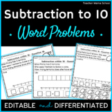 #markdownmonday Subtraction to 10 Word Problems Worksheets   EDITABLE  