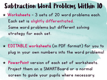 Subtraction to 10 Word Problems Worksheets | EDITABLE |