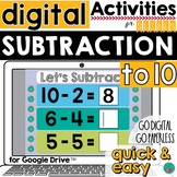 Subtraction to 10 for Google Classroom Activities DISTANCE