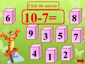 Subtraction to 10 - Interactive Math Back to School Activities
