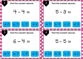 Subtraction to 10 task cards/ scoot