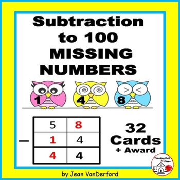 Subtraction to 100 | Task Cards | Missing Numbers Practice