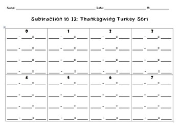Thanksgiving Turkey Sort: Subtraction to 12