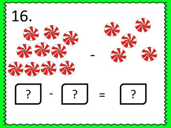 Subtraction to 15--Task Cards and Worksheets--Christmas Theme