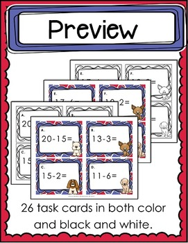 Subtraction to 20 (Twenty) Board Game / Task Cards / Write the Room