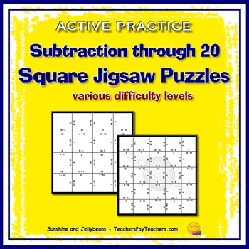 Subtraction to 20 - Active Practice - Square Jigsaw Puzzles- Math Facts Activity