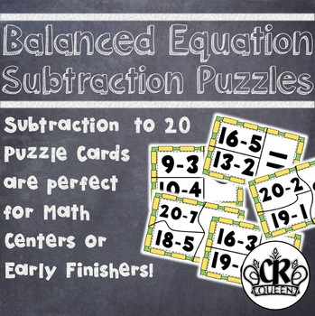 Subtraction to 20 Balanced Equations