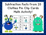 Subtraction from 20 Clip Cards
