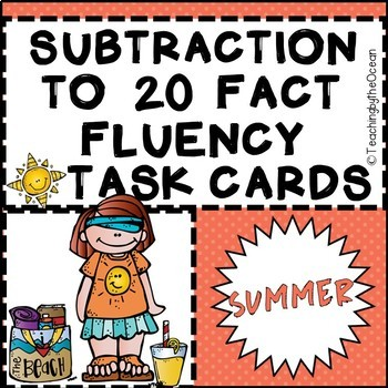 Subtraction to 20 Fact Fluency Task Cards - Summer Theme