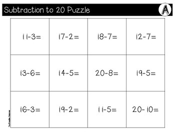 Subtraction to 20 File Folder Puzzles Dog Theme