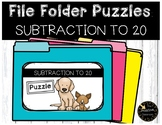 Subtraction Game to 20 File Folder Puzzles Dog Theme