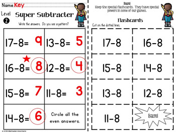 Subtraction to 20 Games, Timed Tests, Flash Cards and More