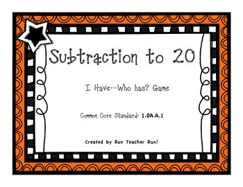 Subtraction to 20 I Have...Who Has? Game