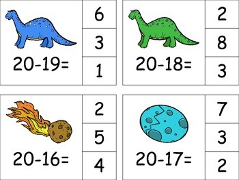 Subtraction to 20 Math Center - Dinosaurs