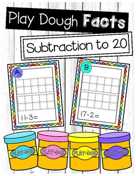 Subtraction to 20 Play Dough Task Cards