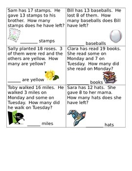 Subtraction to 20 Word Problems