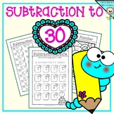 Subtraction to 30 (varied worksheets) word problems, riddl