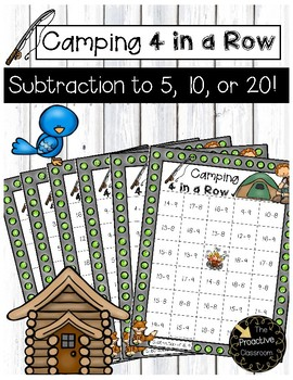 Subtraction to 5, 10, or 20 Camping 4 in a Row\
