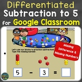 Subtraction to 5 Distance Learning for Google Classroom /