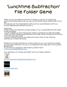Subtracting to 5 File Folder Game