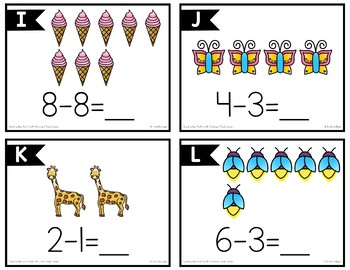 Subtraction to 5 and 10 (with Pictures) Task Cards