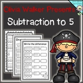 Subtraction to Five Worksheets