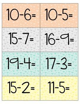 Subtraction under 20- Center (Valentine's Edition)
