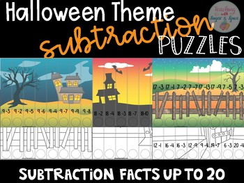 Subtraction up to 20 Halloween Puzzles