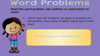 Subtraction up to 4 digits and Word Problems with Google Slides