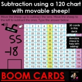 Subtraction using 120 chart with movable sheep to help with counting