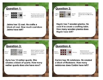 Minecraft Math Subtraction
