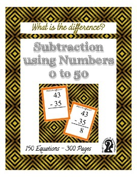 Subtraction using Numbers 0 to 50 ~ 150 Equations in this 300 page e-book reader