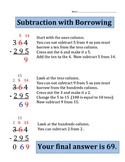Subtraction with Borrowing (3 digit numbers)  Worksheet / Quiz