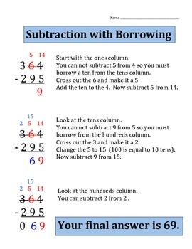 Subtraction with Borrowing (3 digit numbers)  Worksheet / Quiz
