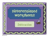 Differentiated Subtraction Coloring Pictures (With and Without Borrowing) - Bee