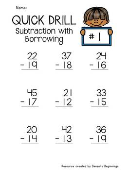 Subtraction with Borrowing Quick Drills