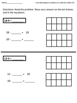 Subtraction with Decomposing a Number Leading to a Ten