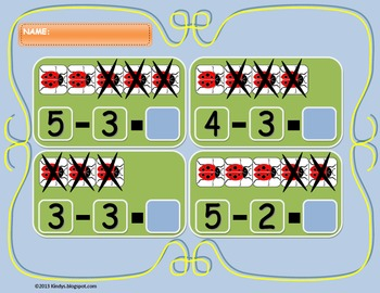 Subtraction with Ladybugs, from 1 to 5, 3 types of exercises
