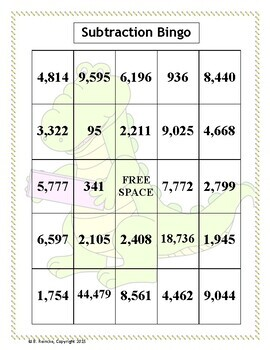 Subtraction with Large Numbers Bingo (30 pre-made cards!)