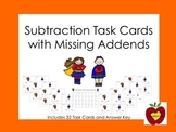Subtraction with Missing Addends Task Cards (Super Hero)