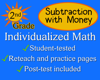 Subtraction with Money, 2nd grade - Individualized Math - worksheets