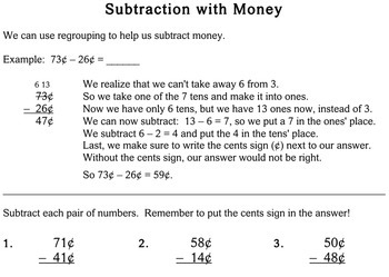 Subtraction with Money, 2nd grade - worksheets - Individualized Math