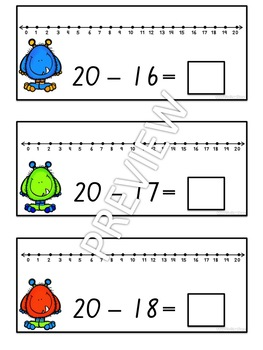 Subtraction with Number Line Write and Wipe Cards