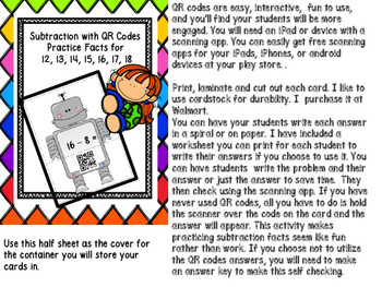 Subtraction with QR Codes Facts for 12, 13, 14, 15, 16,17 & 18