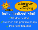 Subtraction with Regrouping, 2nd grade - worksheets - Indi