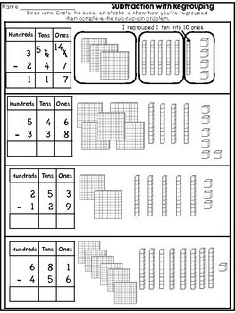 Subtraction with Regrouping {3 Digit Numbers}